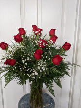 Dozen Red Roses  Vase Arrangement