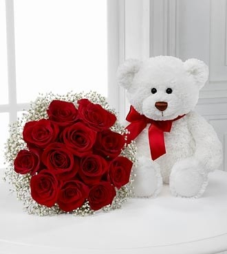 Dozen Red Roses w/Bear