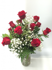 Dozen Red Roses with Babies Breath Arrangement