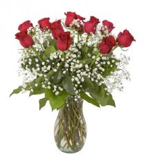 Dozen Red Roses with filler / greens Valentine