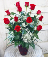 Dozen Red Roses with Filler Vase Arrangement