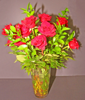DOZEN RED ROSES WITH GREENS MEDIUM