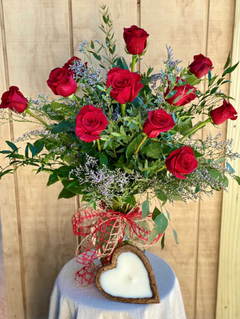 Dozen Red Roses with Heart Candle Powell Florist Exclusive