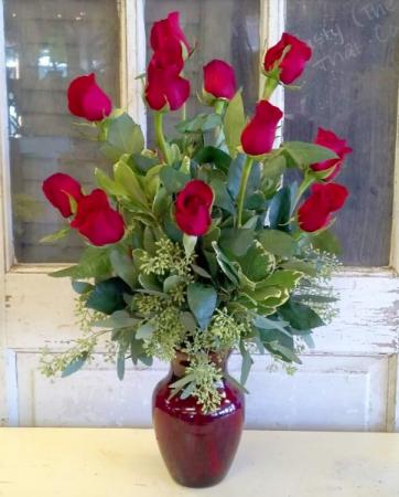 Dozen Red Roses with Greens Vase Arrangement