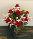 Dozen Red Roses with Oriental Lilies Vase Arrangement