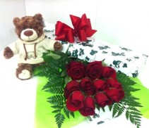Dozen Red Roses With Teddy Order early for Valentine's Day to ensure delivery