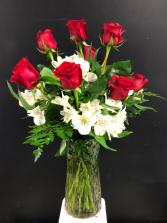 Dozen Red Roses with White Astromeria