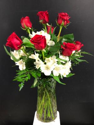 Dozen Red Roses with White Astromeria  in Garner, NC | BLOOMIES ON 42 LLC.