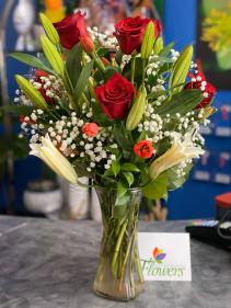Dozen Red Roses with White Lilies