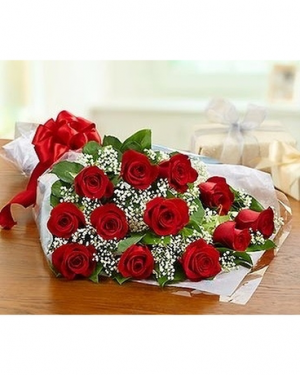 Dozen Red Roses Wrapped Bouquet  in Red Lake, ON | FOREVER GREEN GIFT BOUTIQUE