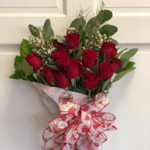 Dozen Red Roses Wrapped Bouquet  in Mattapoisett, MA | Blossoms Flower Shop