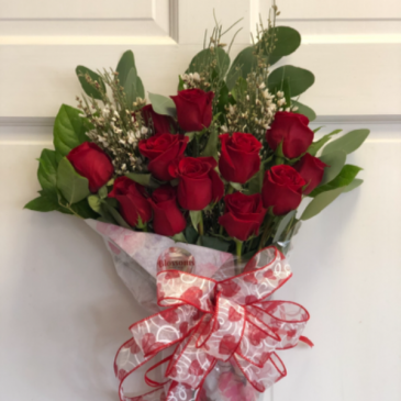 Dozen Red Roses Wrapped Bouquet