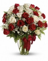 Dozen Red & White Long Stemmed Roses