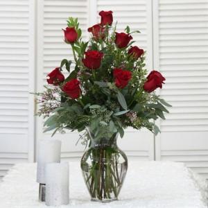 Dozen Rose Arrangement Vase Arrangement