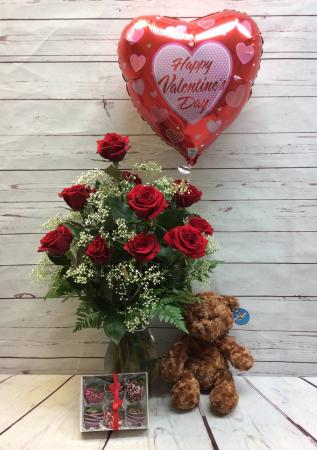 One Dozen Premium Red  Roses & 6 Pack Strawberry with Balloon