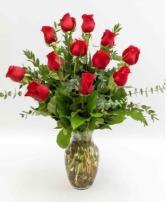 Dozen Roses (Any color) Vased Arrangement