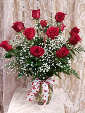 Dozen Roses Arranged in a Glass Vase with Ribbon