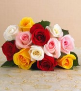12 Assorted Roses & Greenery Cut Flower Bouquet