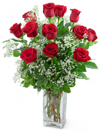 Dozen Roses in a Cloud Flower Arrangement
