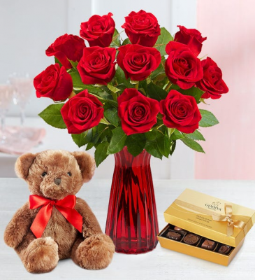 Dozen Roses in Vase with Bear and Chocolates