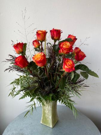 Dozen Roses on Fire