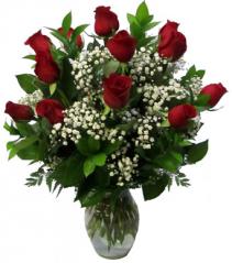 Dozen Roses Vase Arrangement