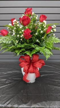 Dozen  Roses with Monte filler