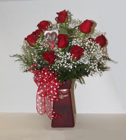 Dozen Roses  Dozen Roses,Babys Breath, Greens, Chocolate Heart