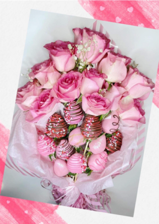 Dozen Roses with Chocolate covered Strawberries  Valentines