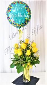 Dozen Roses with Foil Balloon Dozen Roses with Foil Balloon