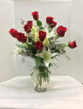 Dozen roses with Lilies  Arrangement