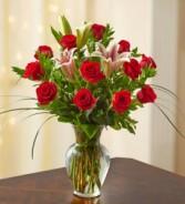 Dozen Roses with Stargazer Lilies