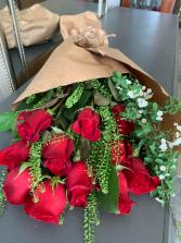 Dozen roses wrapped