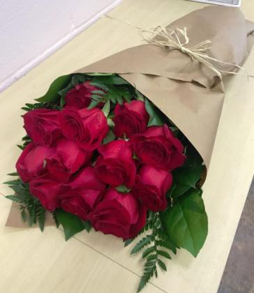 Dozen Roses Wrapped Cuts, no vase