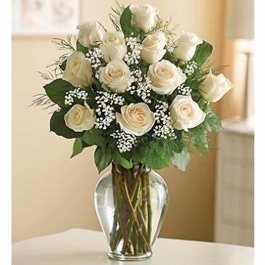 Dozen Standard White Roses Arrangement