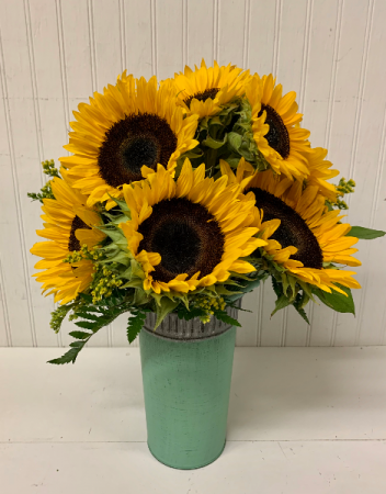 Dozen Sunflowers in Metal Tin