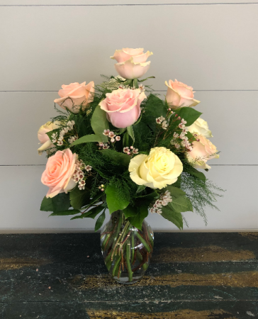 Dozen Timeless Roses Vase Arrangement
