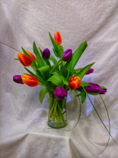 Dozen Tulips (Mixed Colors) 12 Tulips, mixed colors, arranged in a glass vase