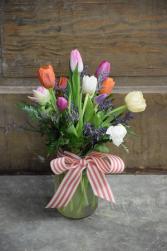 Dozen Tulips Vase Arrangement