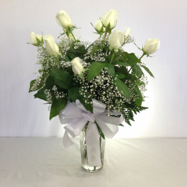 Dozen White Roses Call for availability