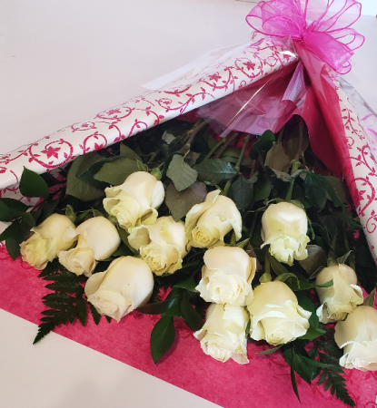 Dozen White Roses Bouquet