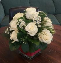 Dozen White Roses Cube Vase Arrangement