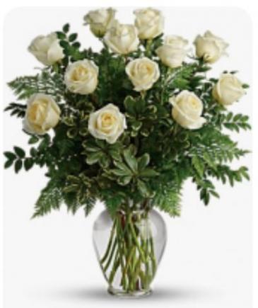Dozen White Roses Rose Vase