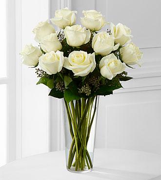 Dozen White Roses Vase