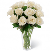 DOZEN WHITE ROSES Vase Arrangement