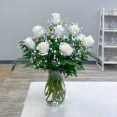 Dozen White Roses Vase Arrangement