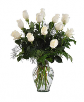 Dozen White Roses  Flower Arrangement