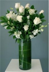 Dozen White Roses with Dendrobium Orchids