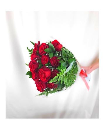 Dozen Wrapped Long-Stem Red Roses