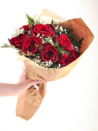 Dozen Wrapped Red Roses